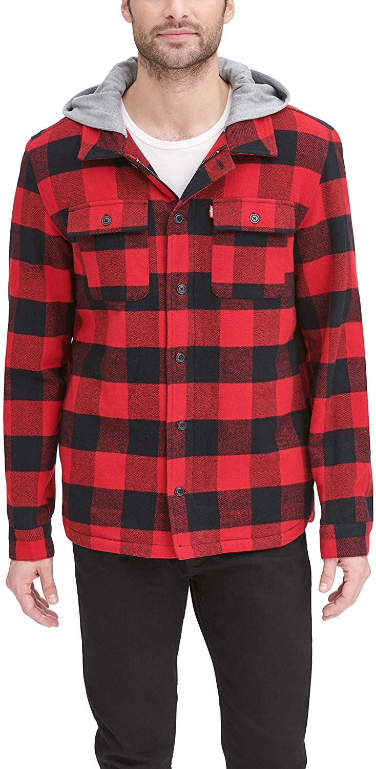 Levi's Men's Cotton Shirt Jacket with Soft Faux Fur Lining and Jersey Hood
