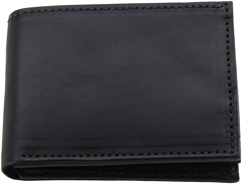 Premium Full Grain Bridle Leather Men's Bifold Wallet – Black - Made in USA