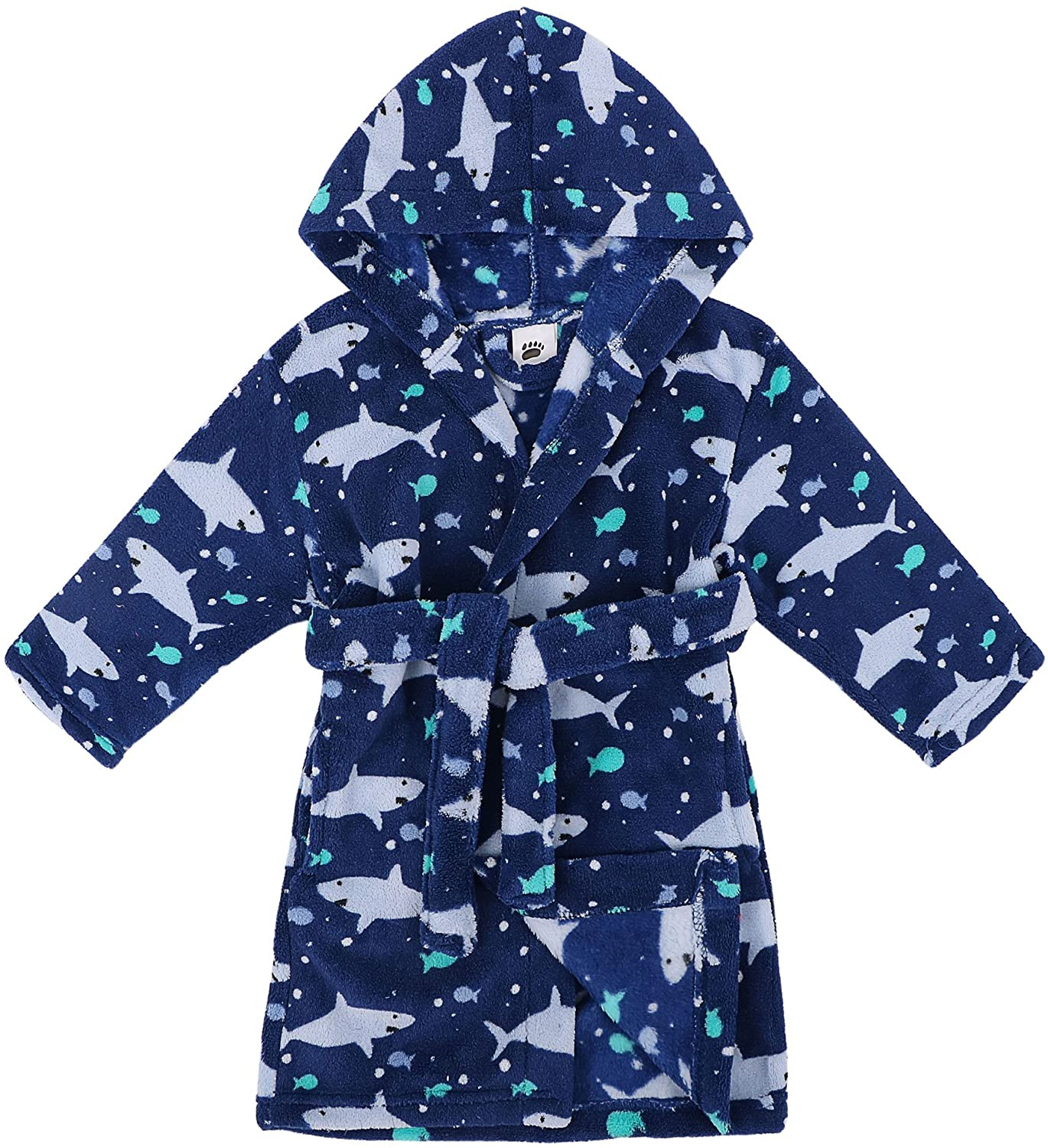 Verabella Boys Girls' Plush Soft Fleece Printed Hooded Beach Cover up Pool wrap