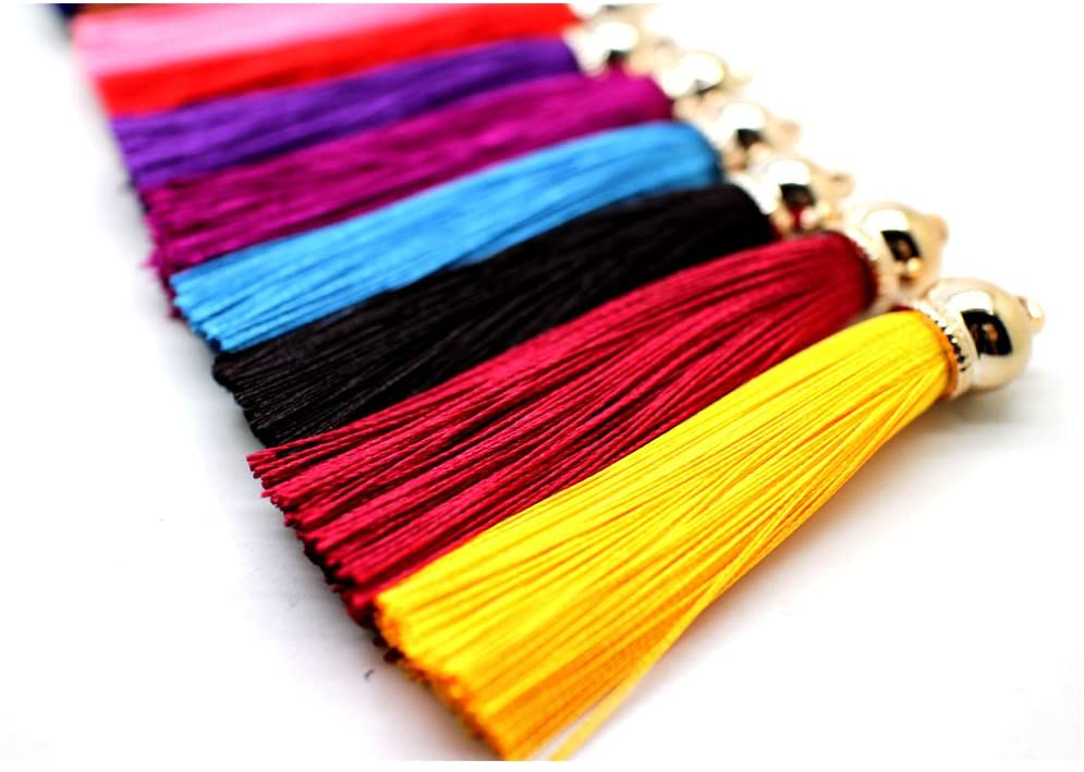 Pamir Tong Fashion 12pcs Ice Silk Silky Tassel for Cell Phone Straps/DIY Earring/Handbag/Keychain Charms Handbag Pendant GD12ST32