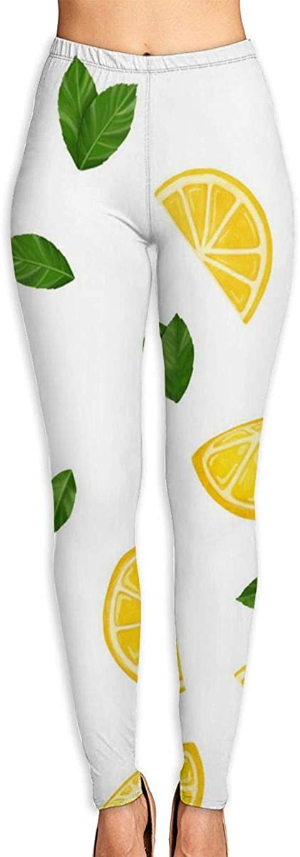 Nzioap0 Women's Soft Lightweight Yellow Lemon Leggings High Waist Yoga Pants Training Leggings