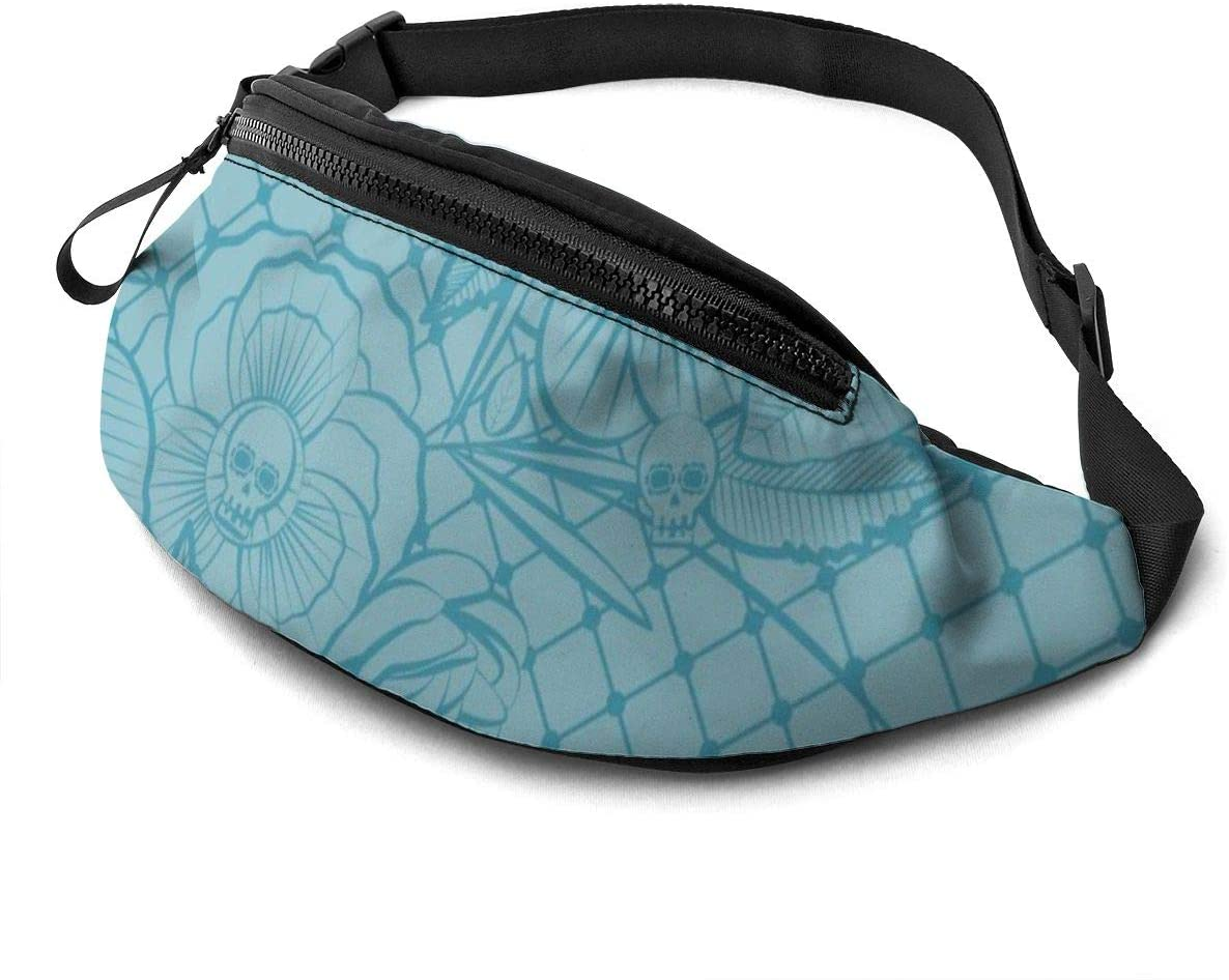 Sketchy Floral Pattern With Skulls Fanny Pack For Men Women Waist Pack Bag With Headphone Jack And Zipper Pockets Adjustable Straps
