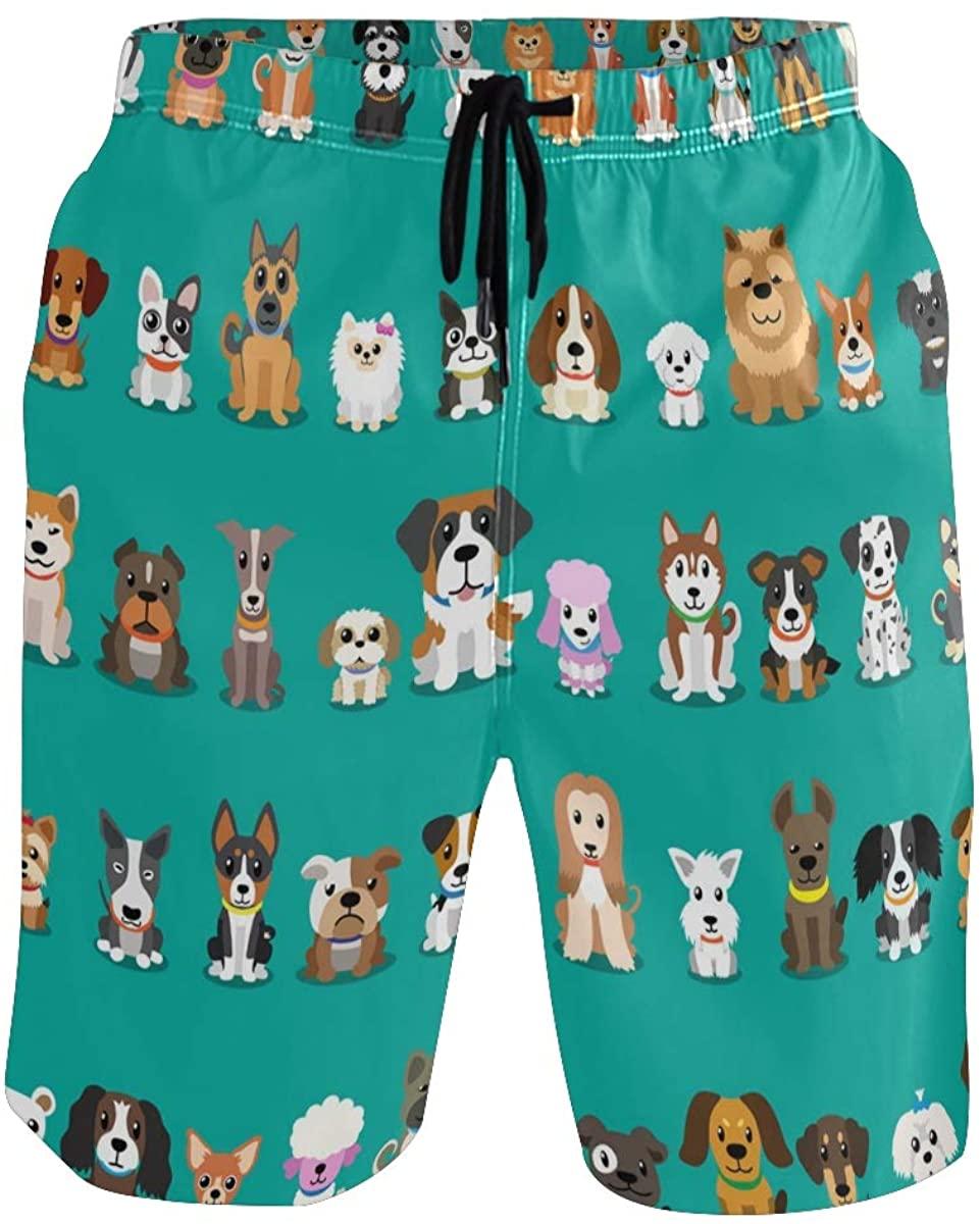 Sinestour Mens Swim Trunks Quick Dry Cartoon Dogs Boardshorts with Pocket Beach Shorts