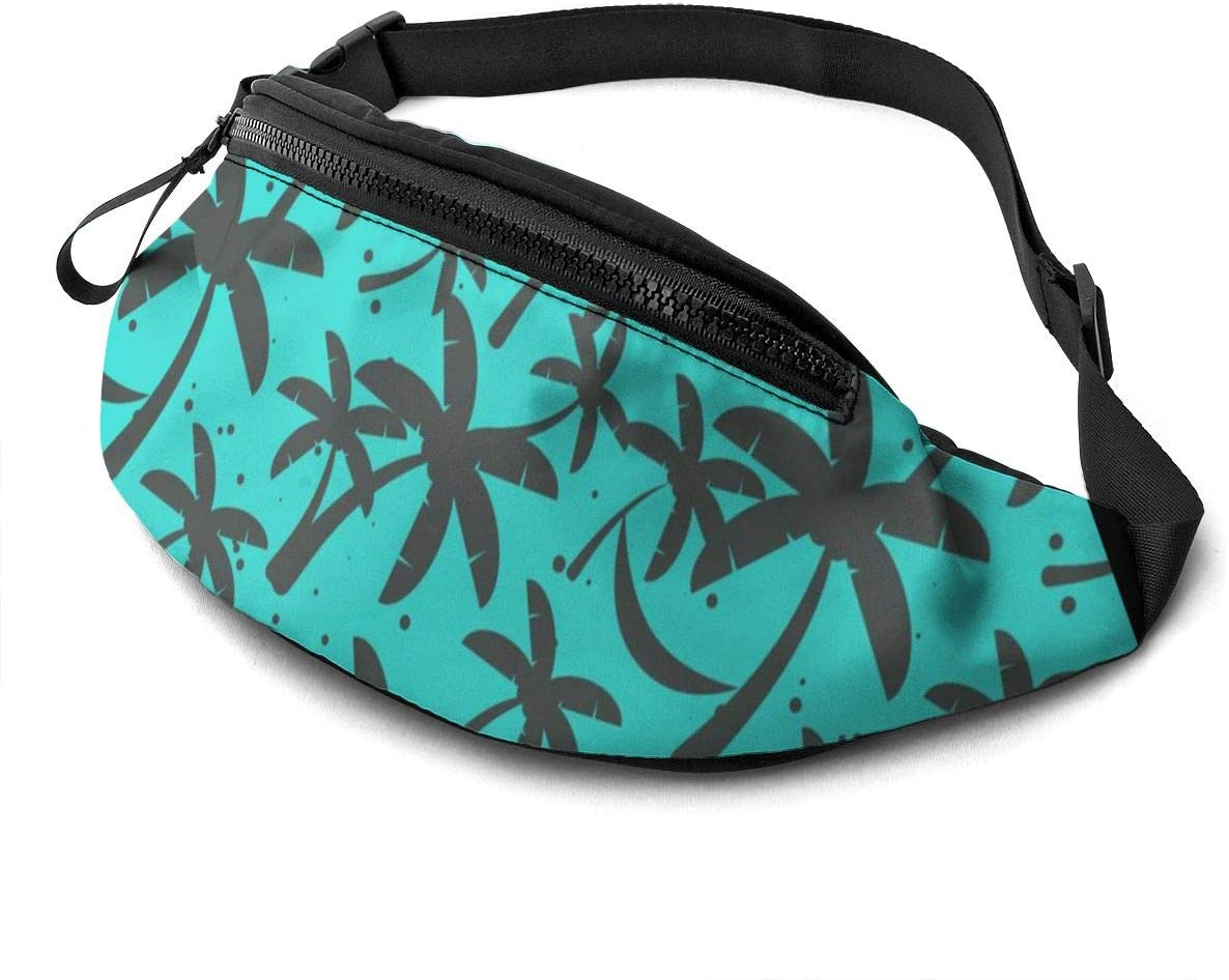 Blue coco Fanny Pack for Men Women Waist Pack Bag with Headphone Jack and Zipper Pockets Adjustable Straps