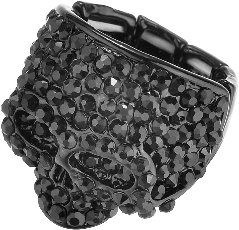 Lux Accessories Halloween Black Full Rhinestones Skulls Spooky Fashion Ring