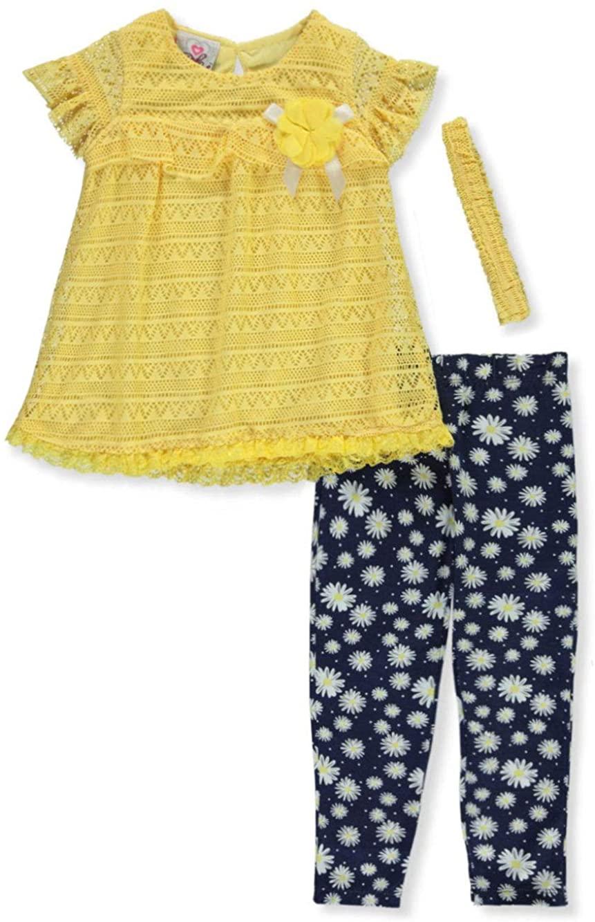 Real Love Girls Lattice Flowers 3-Piece Leggings Set Outfit