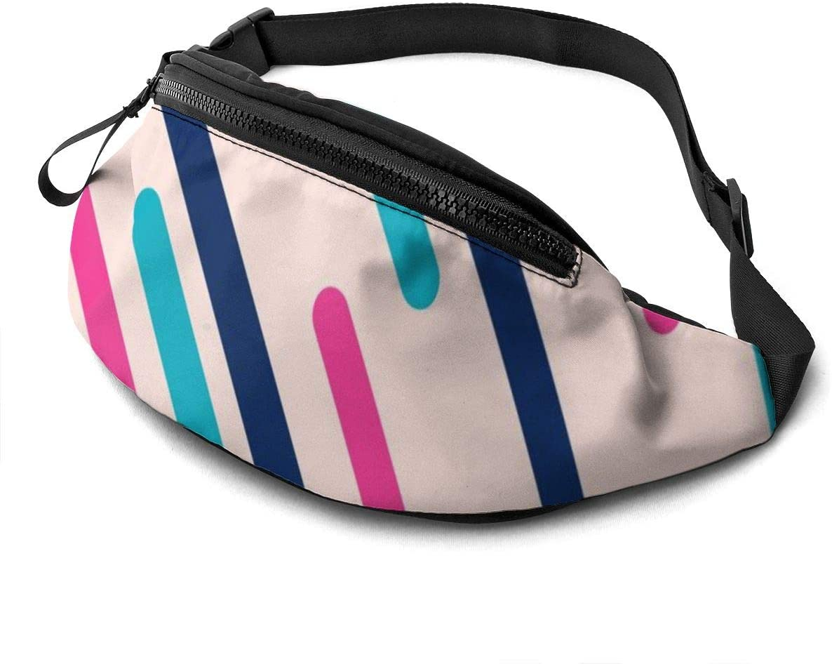 Lines With Fisheye Effect Fanny Pack For Men Women Waist Pack Bag With Headphone Jack And Zipper Pockets Adjustable Straps