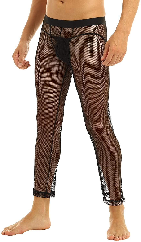 MSemis Men Comfortable Sheer Mesh Long Lounge Pants Trousers Nightwear Pajamas
