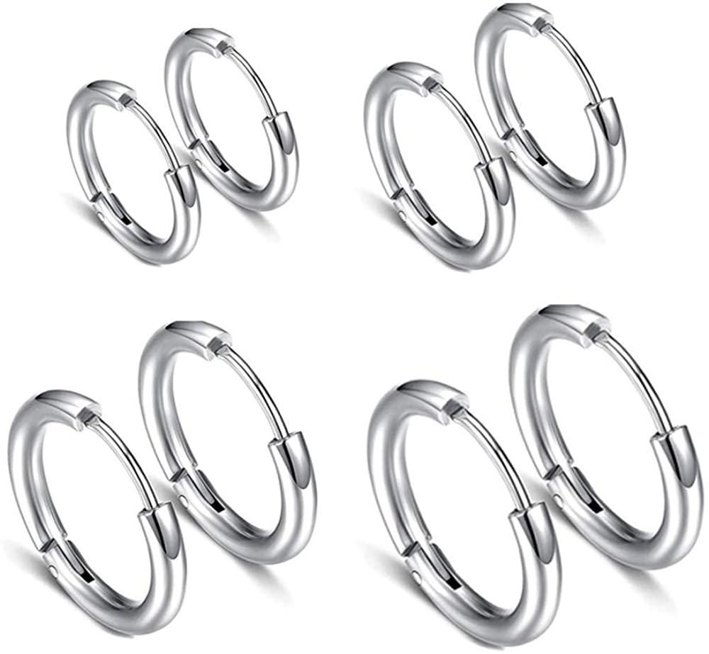 Fomissky Mini Hoop Earrings for Women Men Cartilage Hypoallergenic, 18G Stainless Steel Hoop Earrings Set Minimalist Huggie Ring Piercing 8MM-14MM