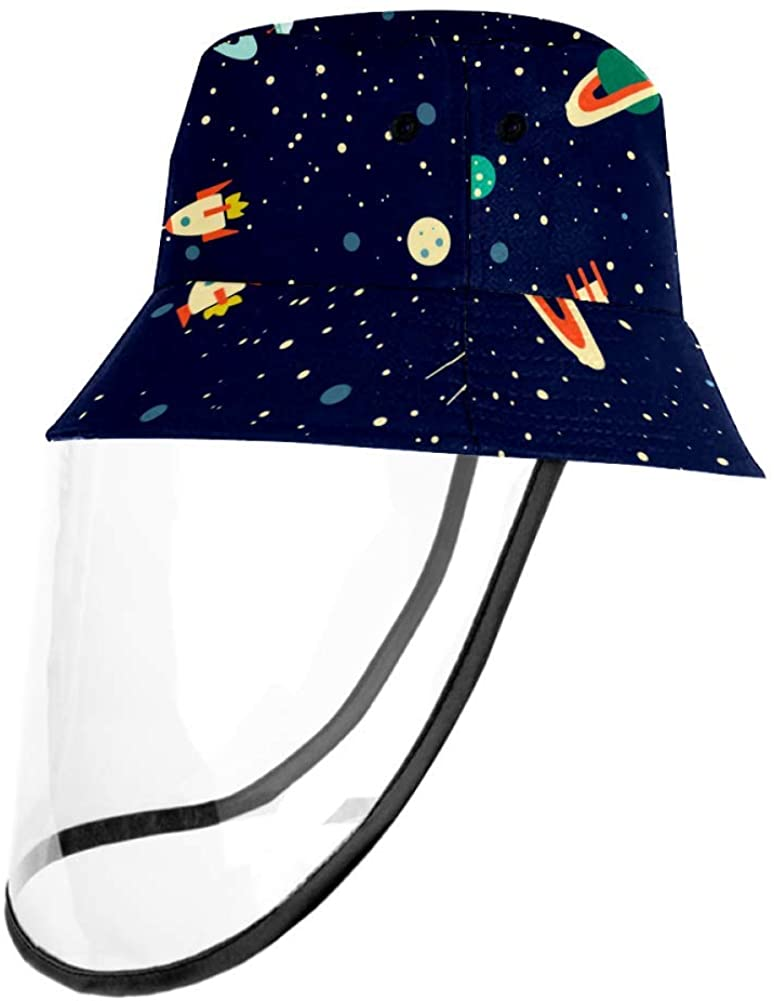 Space Planets Orbits Rockets Satellite Protective Bucket Sun Hat Unisex Caps Outdoor Hats
