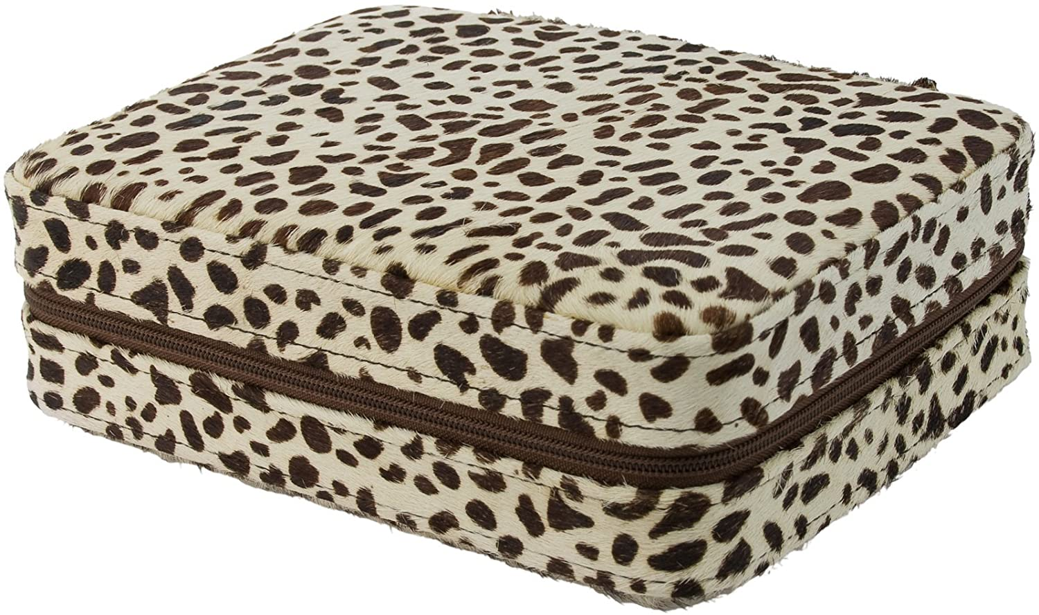 4 Watch Travel Case Box Horsehair Snow Leopard Pattern