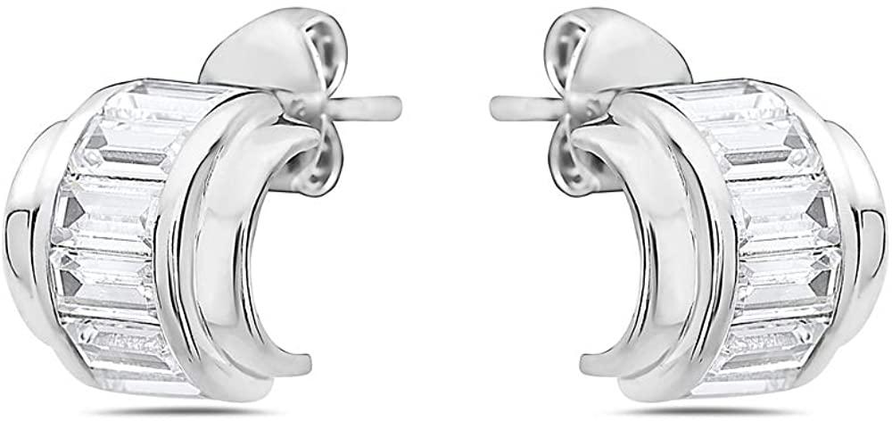 925 Solid Sterling Silver 10mm Cubic Zirconia Cuff Huggie Hoop Stud Earrings - Mini Unisex Round Jewelry