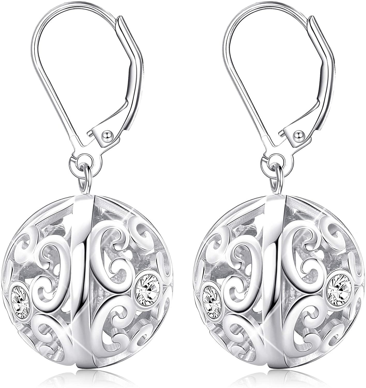 Sllaiss Filigree Ball Earrings Leverback Sterling Silver Earrings Set with Swarovski Cubic Zirconia Dangle Earrings Rose Gold White Gold Round Drop Earrings