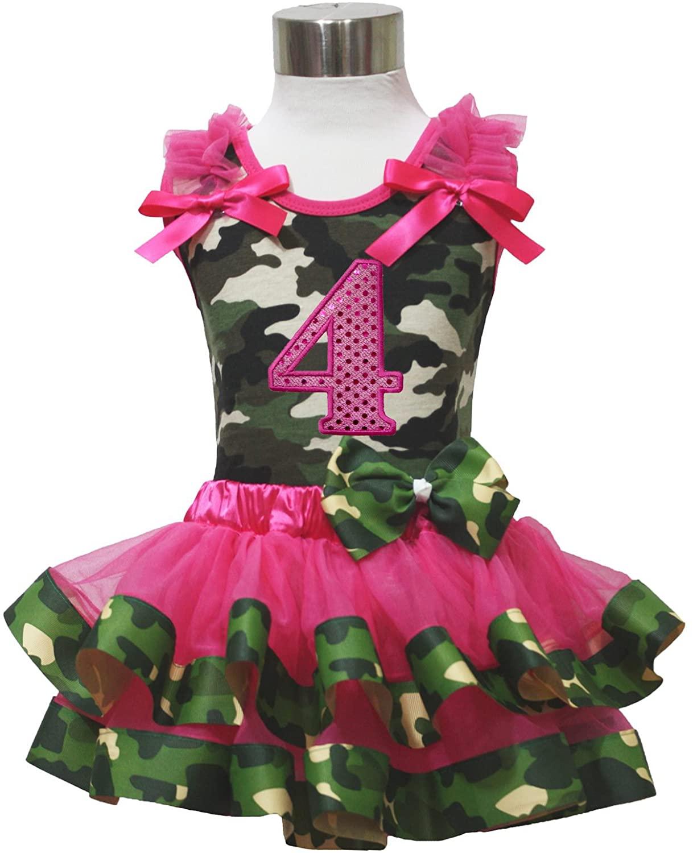 Birthday 4th Camouflage Top Shirt Hot Pink Satin Trim Girl Skirt Set Nb-8y