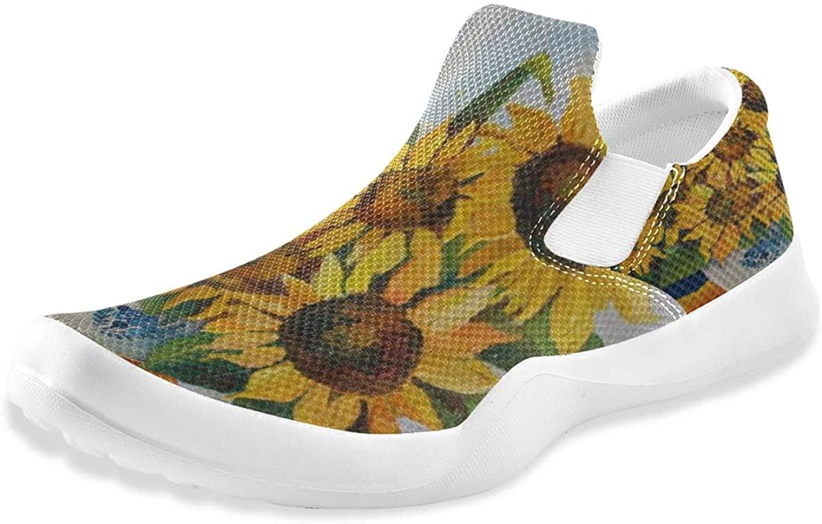 Love Animal Summer Sunflower Art Painting Mens Summer Slip On Loafers Lightweight Shoes Walking Non Slip Boys