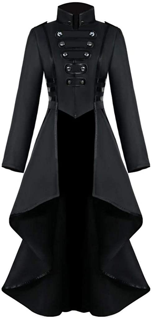 terbklf Vintage Womens Steampunk Swallow Tail Long Trench Coat Jacket Thin Outwear Tailcoat Jacket Gothic Uniform Costume