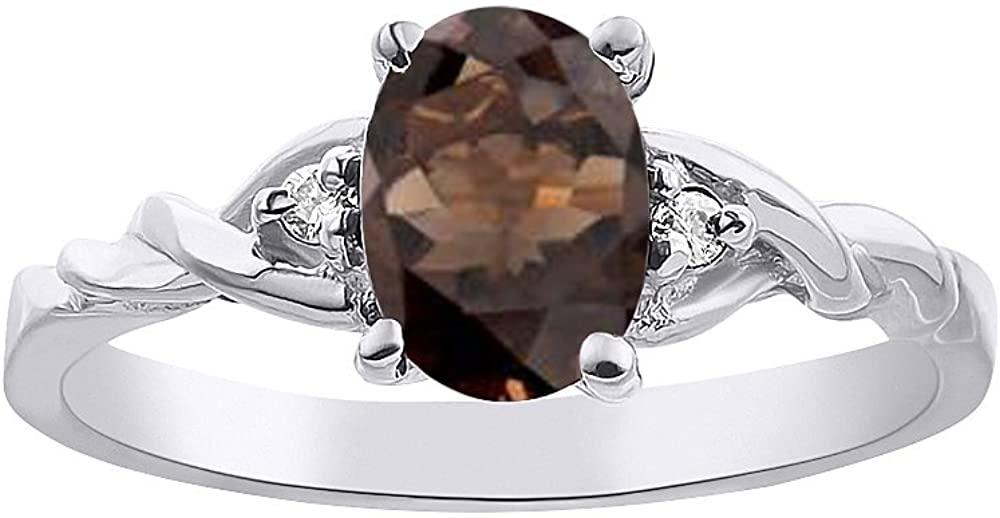 Diamond & Smoky Quartz Ring Set In 14K White Gold Solitaire
