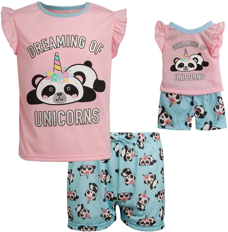 BFF & Me Girls' 2 Piece Unicorn Pajama Short Set with Matching Doll Pajamas