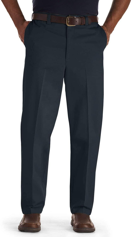 Oak Hill by DXL Big and Tall Flat-Front Premium Stretch Twill Pants, Navy, 52 X 30, Regular Rise
