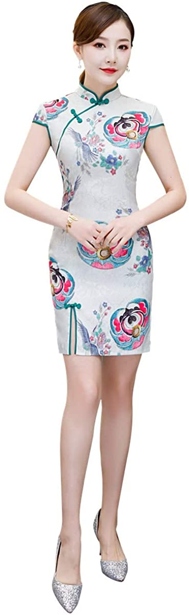 Shanghai Story Short Sleeve Cotton Chinese Cheongsam Dress Qipao For Woman
