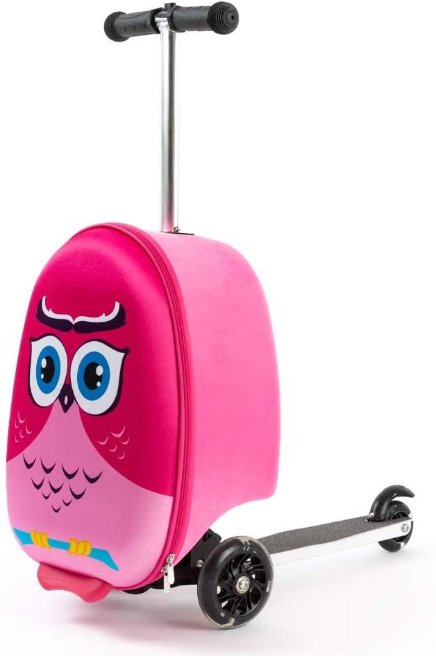 "Kiddietotes 19"" Hardshell Carry-on Scooter Suitcase - Light Up LED Wheels - Owl"