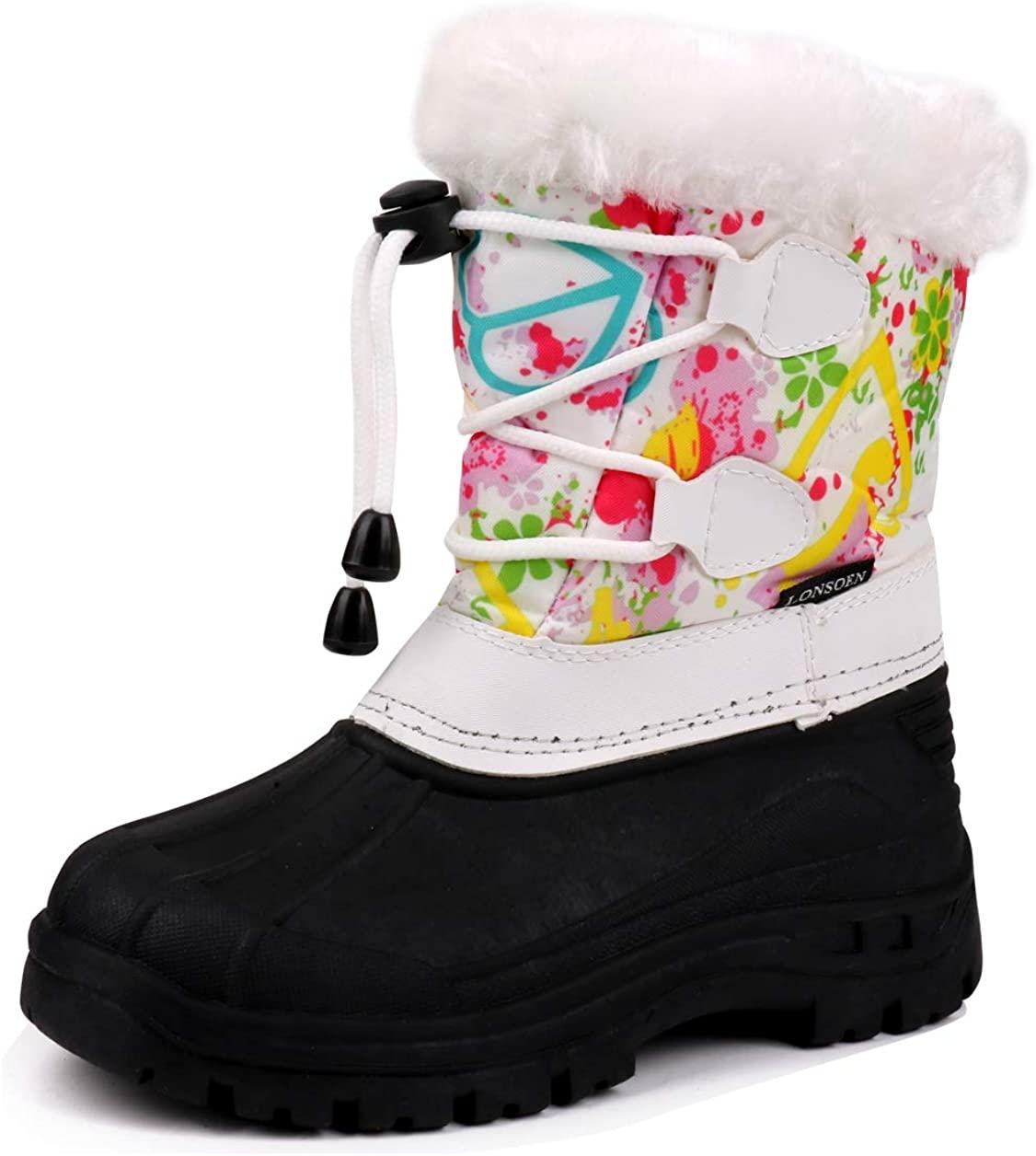 LONSOEN Kid's Boys Girls Frosty Winter Snow Boots Fur Lined Warm Anti-Slip Mid Calf Boots