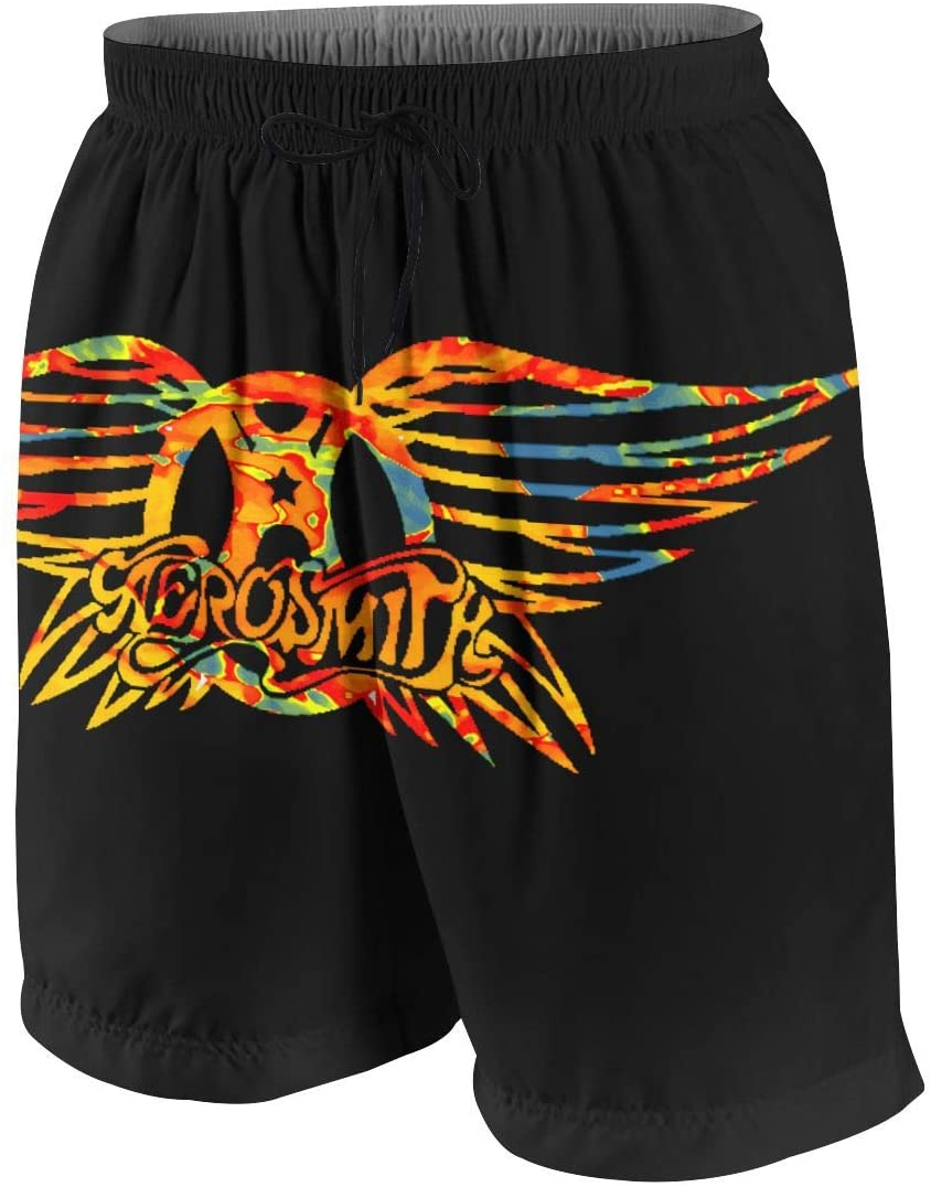 FangNer Aerosmith Beach Mens Swimming Trunks Boxer Brief Quick Dry Swimsuit Underwear Boardshorts with Pocket White