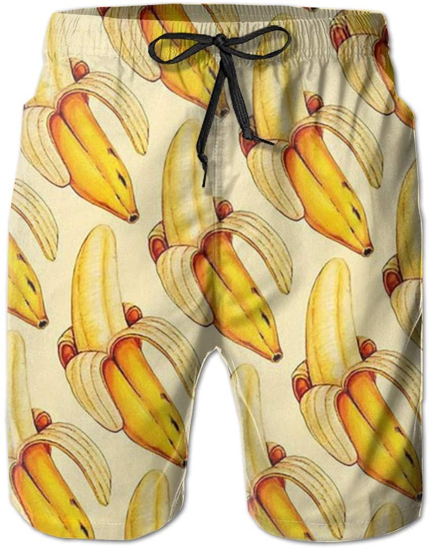 Oiyucv Men's Swim Trunks Yellow Banana Quick Dry Board Shorts Bathing Suits Swimwear Volley Beach Trunks