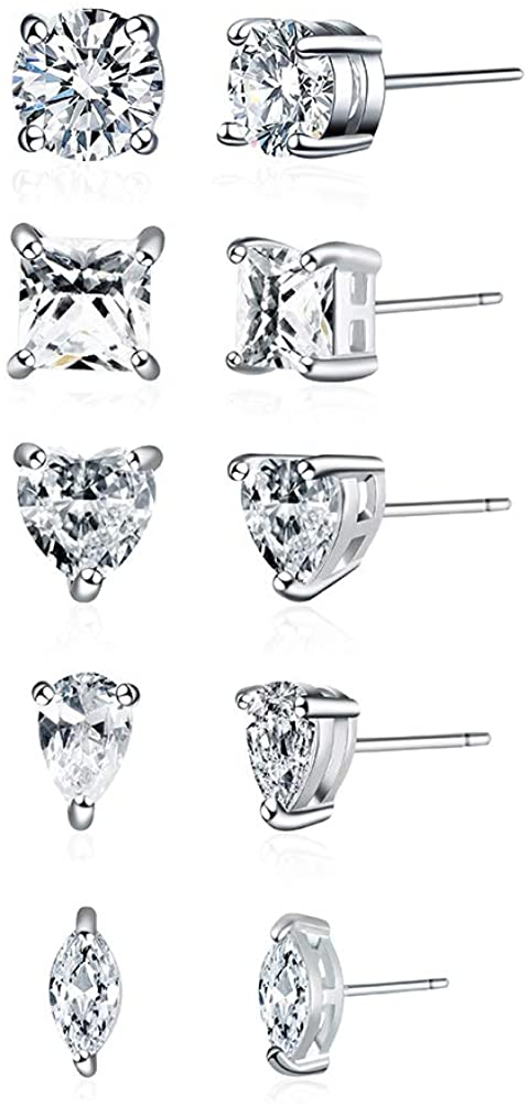 Maarring Women Earring Stud Hypoallergenic Earrings White Gold Plated round Cubic Zirconia Jewelry For Women 5 Pairs With Gift Box