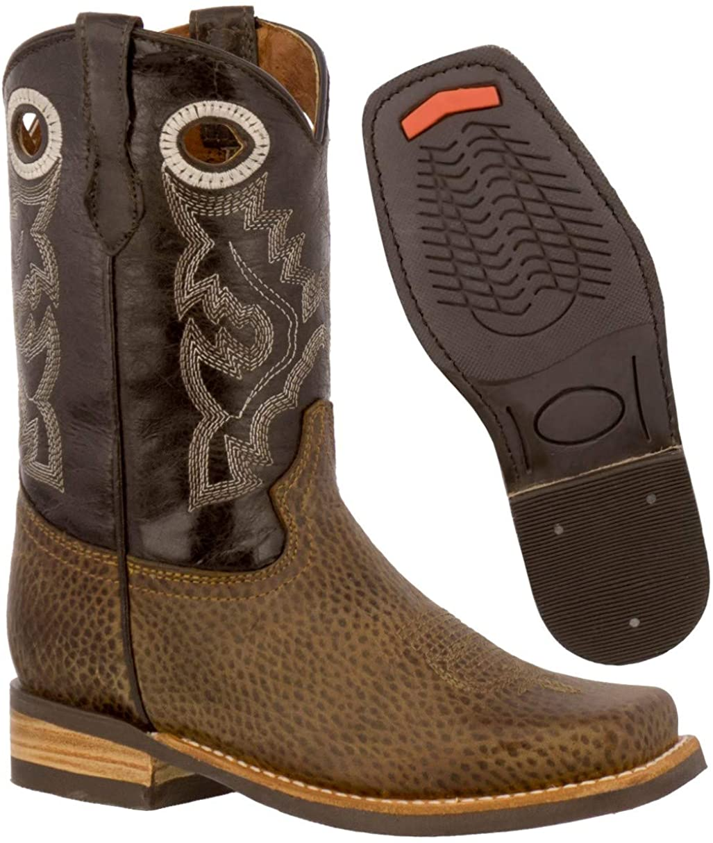 Kids Rustic Brown Western Cowboy Boots Grain Leather Square Toe 10 Toddler