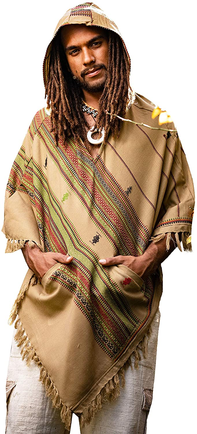 AJJAYA Mens Hooded Poncho Desert Sand Brown Cashmere Wool with Hood Pockets, Earthy Tribal Celtic Festival Gypsy Mexican Primitive Nomadic