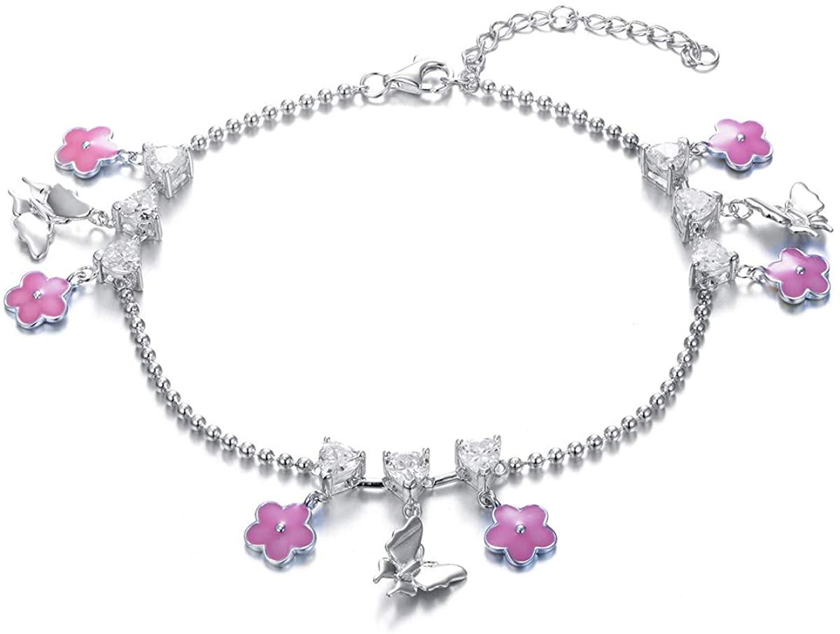 Silver Ankle Bracelets for Women Handmade Dainty Layered Anklet Bracelets for Women Girls Jewelry