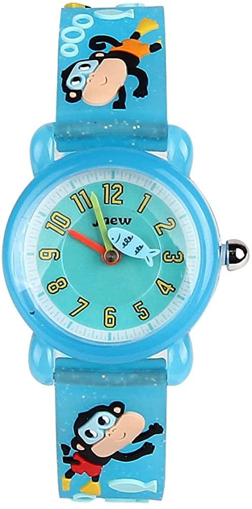 ELEOPTION Waterproof Kids Watches Children Analog Quartz Wristwatches 3D Cute Cartoon Design with Super Soft Silicone Band Shock Resistant for Boys Girls as Time Teacher (Monkey-Light Blue)