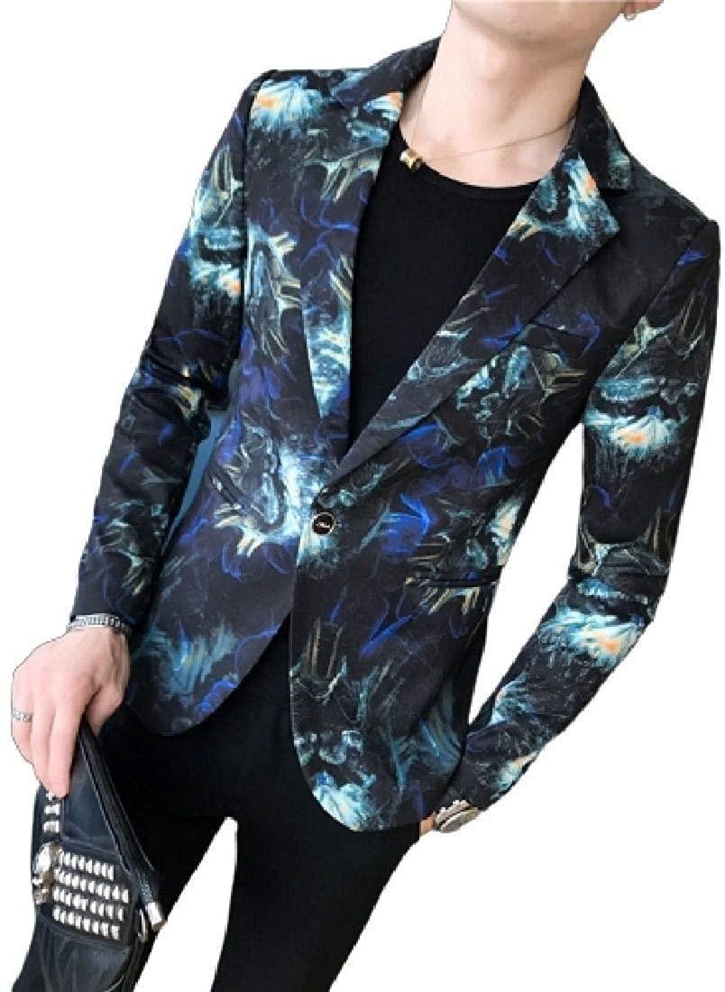 Men's Stylish Notched Collar Print One Button Slim Fit Blazer Suit Jackets