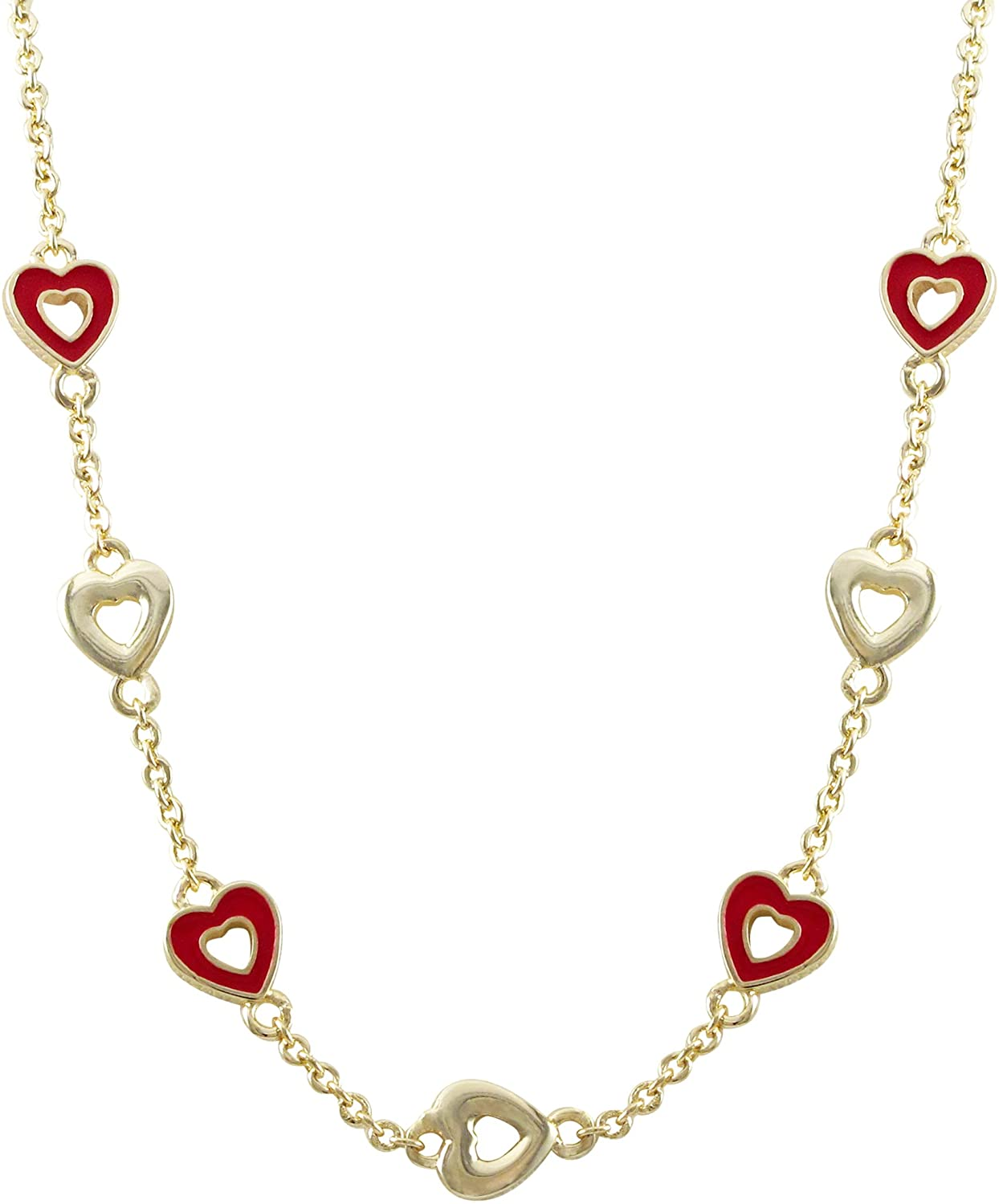 Ivy and Max Gold Finish Red Enamel Finish Open Hearts Children's Necklace, 14