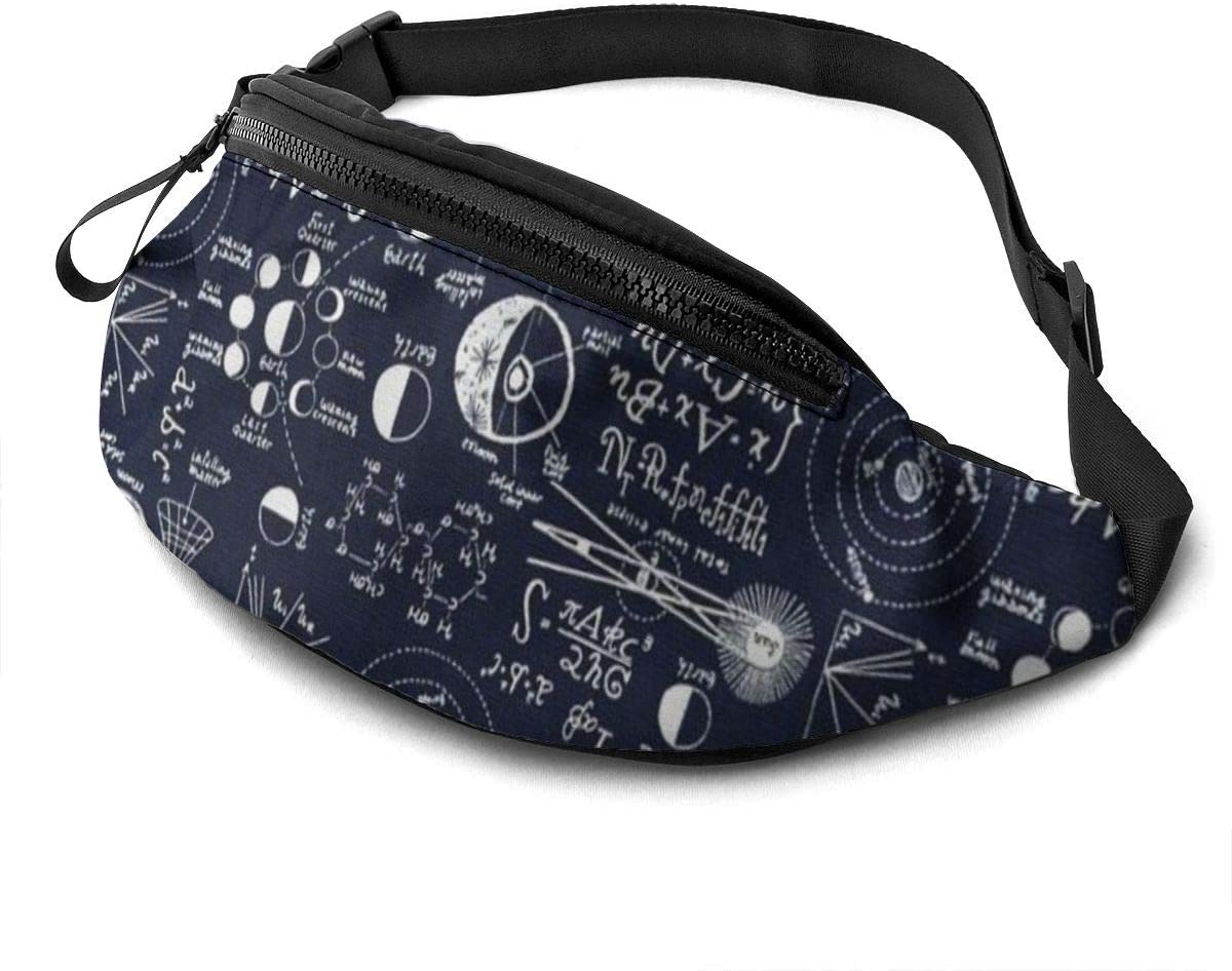 Mathematical Equation Fanny Pack For Men Women Waist Pack Bag With Headphone Jack And Zipper Pockets Adjustable Straps