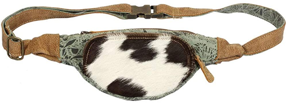 Myra Bag Chic Upcycled Canvas & Cowhide Fanny Pack S-1392