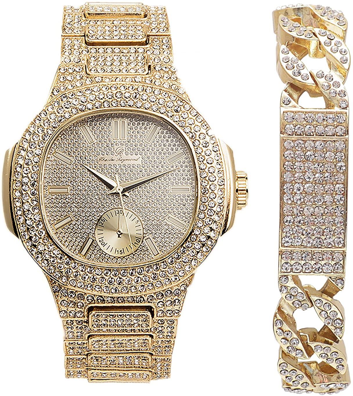 Hip Hop Cuban Iced Look ID Gold Bracelet with Oblong Gld Bling Watch -8475B Cuban IDGold