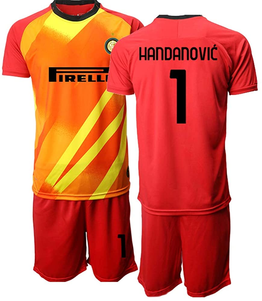 Kids 20/21 HANDANOVIC 1# Soccer Jersey T-Shirt and Sports Shorts Suit -Red