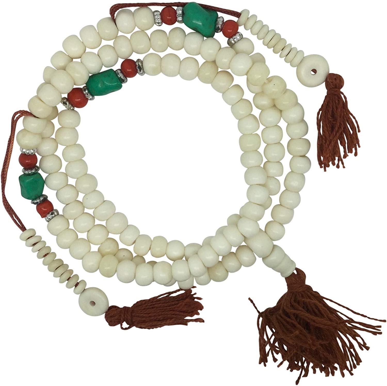 The Bo Tree Fair Trade Decorative White Bone 108 Japa Mala Beads Hand Made in Nepal Buddha Buddhist Meditation Hindu