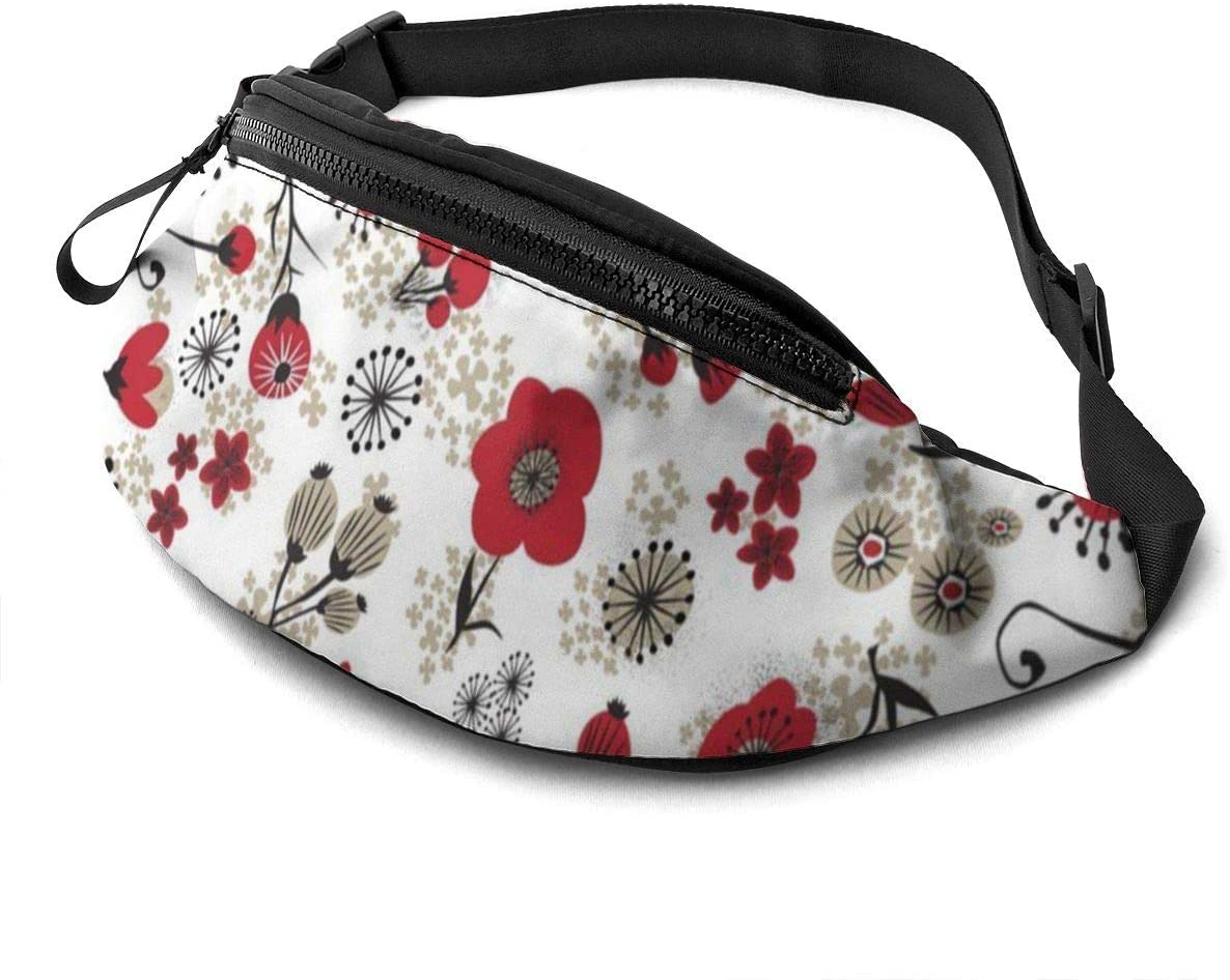 Red Poppies On White Fanny Pack For Men Women Waist Pack Bag With Headphone Jack And Zipper Pockets Adjustable Straps