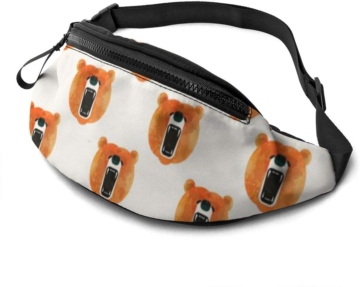 Animal Bear Art Fanny Pack For Men Women Waist Pack Bag With Headphone Jack And Zipper Pockets Adjustable Straps