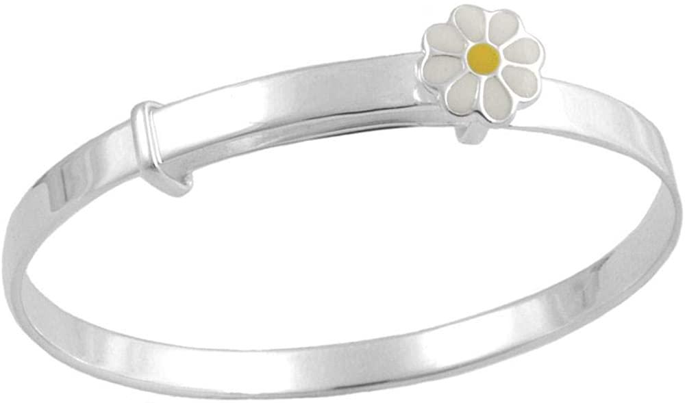 Kids Jewelry - Silver Enamel Daisy Adjustable Bangle Bracelet For Girls