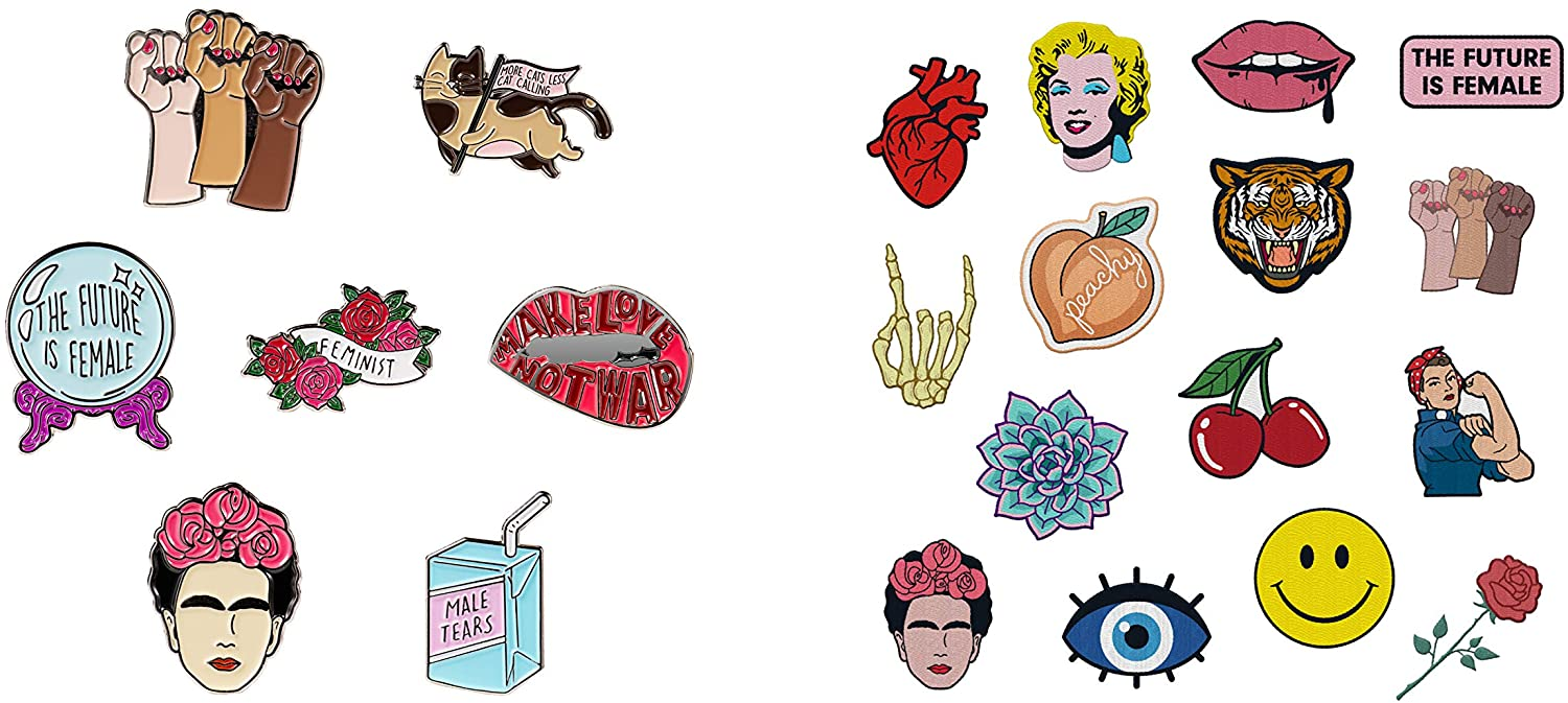 Assorted Feminist Pins and Hipster Iron On Patches Bundle