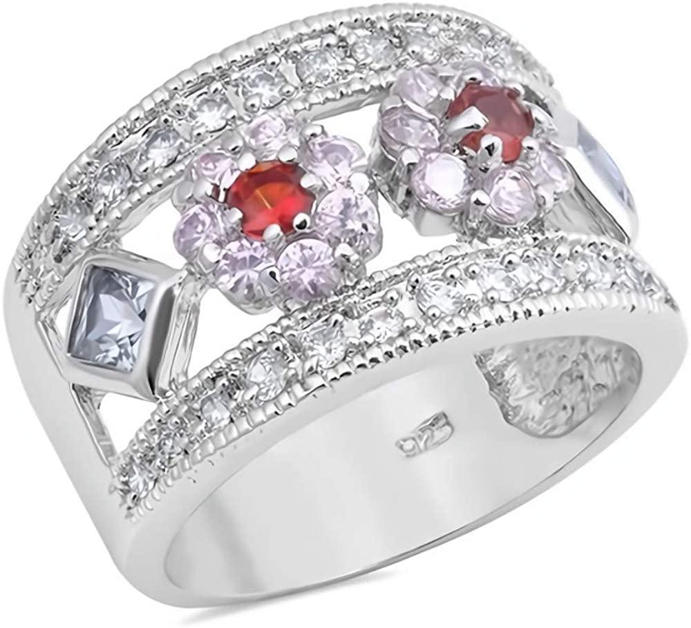Glitzs Jewels 925 Sterling Silver CZ Ring (Pink & Dark Red) | Cubic Zirconia Jewelry Gift