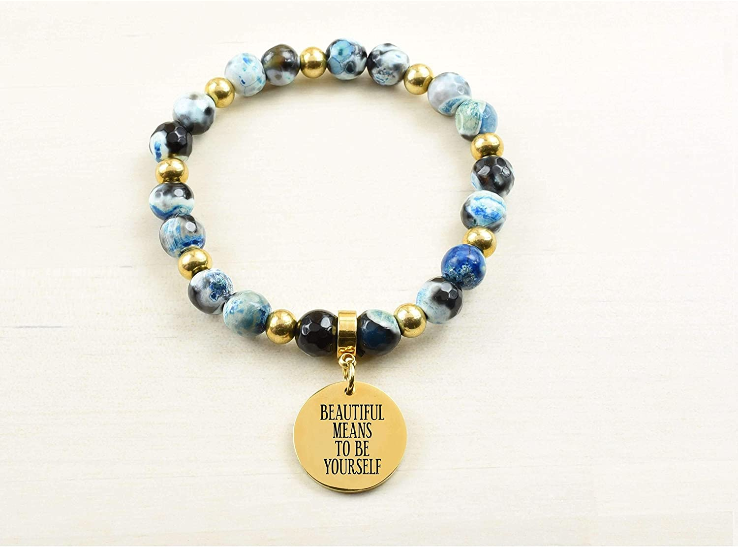Pink Box Genuine Agate Inspirational Bracelet - Blue - Beautiful Means - Silver -