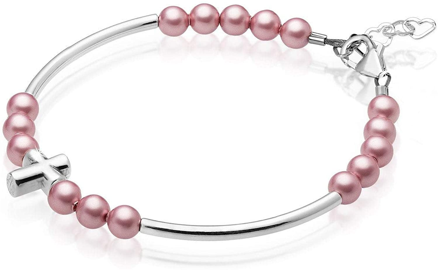 Luxury Child Banglet Bracelet with Silver Cross and Dark Pink Pearls (BD26)