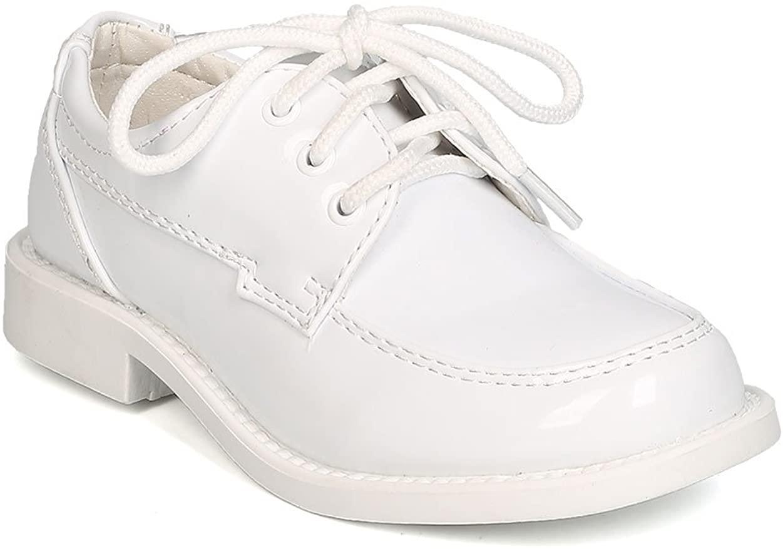 Auston Boys Patent Leatherette Lace Up Dress Shoe GB30 - White (Size: Toddler 8)