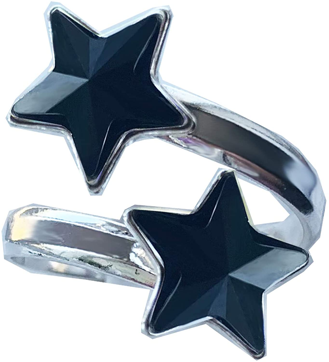 Royal Crystals 925 Sterling Silver Adjustable 10mm 2-Stone Star Ring Modern Style Made with Swarovski Crystals