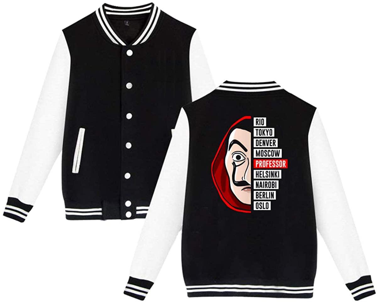 POPLNMUSM-hosvuns Money Heist La Casa De Papel Dali Mask Tokyo Rio Professor Oslo Unisex Baseball Jacket Varsity Jacket